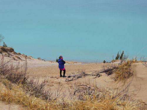 hiker at Arcadia Dunes Old Baldy