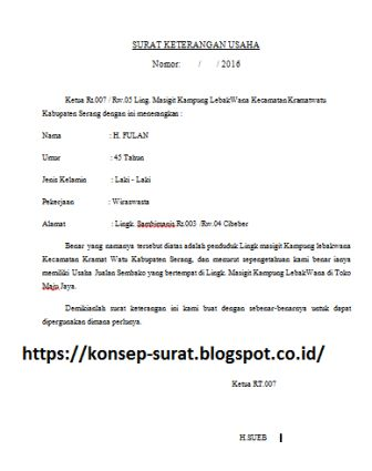 contoh surat keterangan usaha rt konsep surat