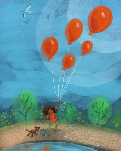 red balloon illustration by Traci Van Wagoner, children's illustrator and author
