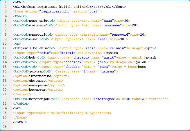 Cara Membuat Form Registrasi Online di Adobe Dreamweaver ...