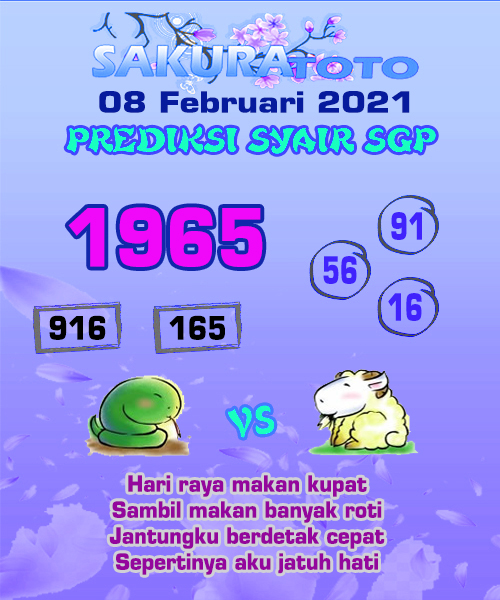 Syair Sakuratoto SGP Senin, 8 Februari 2021