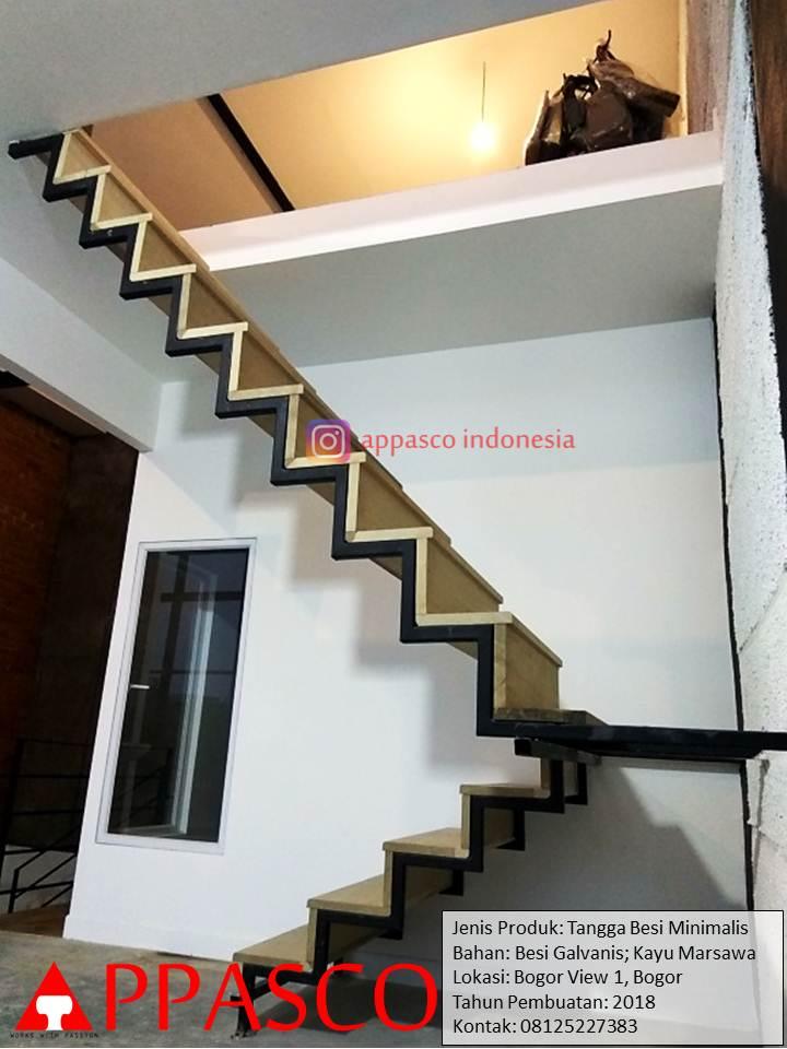 Tangga Besi Untuk Mezzanine Model Minimalis Modern di Bogor View