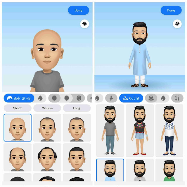 Choose hairstyle and outfit for Facebook avatar