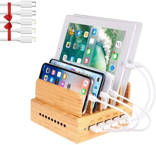 OthoKing Bamboo Wood Charging Station for Multiple Devices