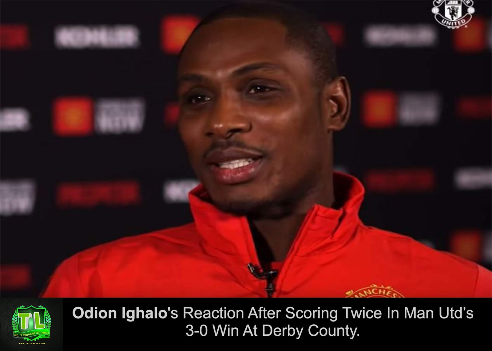 Odion Ighalo's Reaction After Scoring Twice In Man Utd's 3-0 Win At Derby County teelamford