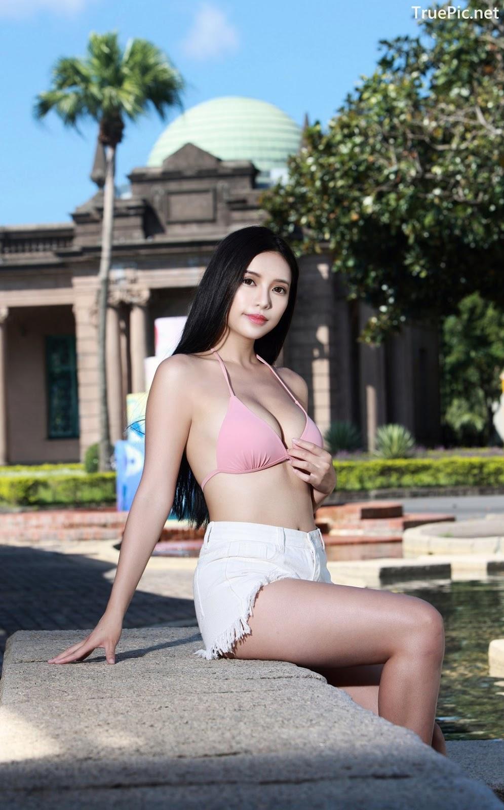 Image-Taiwanese-Model–莊舒潔-ViVi–Hot-Pink-Bikini-Top-and-White-Short-Pants-TruePic.net- Picture-10