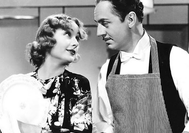 Carole Lombard and William Powell doing the dishes