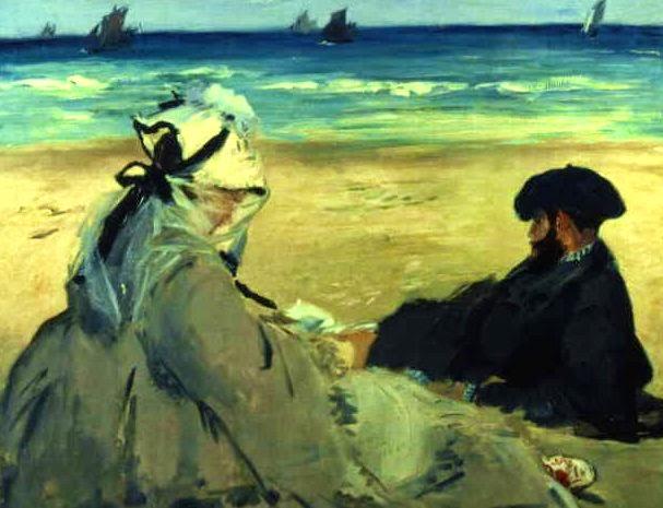Na Praia - Pinturas impressionistas pintadas por Édouard Manet