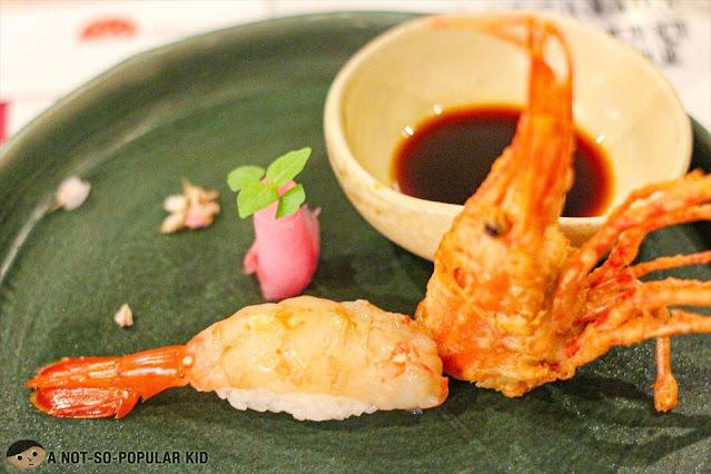 Spot Shrimp Sushi using fresh Canadian shrimp