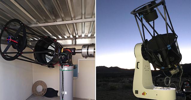 "AFIL-3: 20"" f/6.7 Dall-Kirkham located in Hakos, Namibia (left) and AFIL-7 20"" f/6.8 Corrected Dall-Kirkham located in Nerpio, Spain (right)."