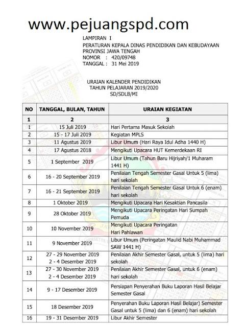 kalender pendidikan tahun 2019/2020
