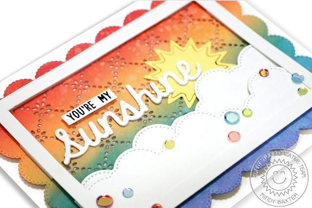 Sunny Studio Stamps: Frilly Frame Dies Fluffy Cloud Border Dies Sunshine Word Die Friendship Card by Mindy Baxter