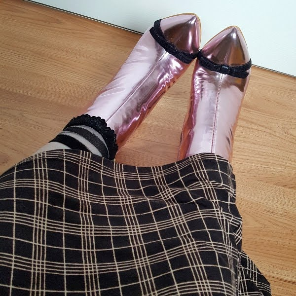 wearing mesh striped ankle socks, pink metallic boots and checked dress