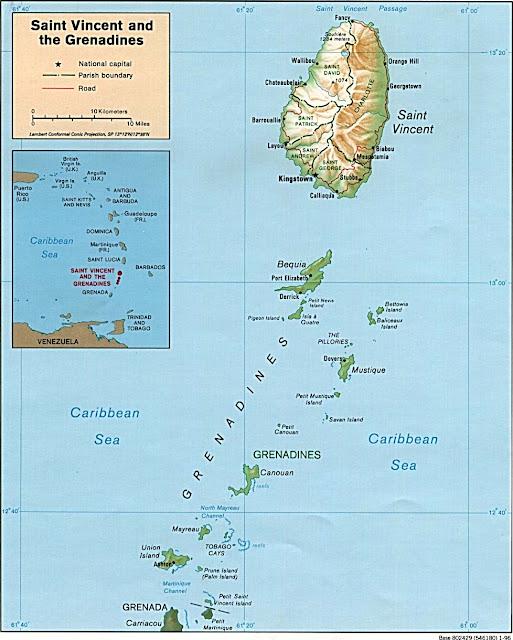Carte de Saint Vincent et les Grenadine