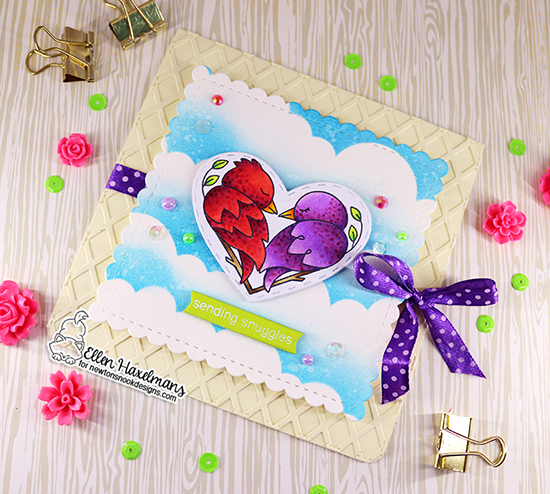 Sending Suggles Card by Ellen Haxelmans | Darling Duos Stamp Set, Darling Hearts Die Set, Clouds Stencil and Frames Square Die Set by Newton's Nook Designs #newtonsnook #handmade