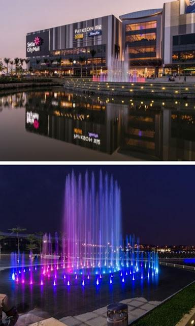 Setia City Mall malam hari air pancut berirama