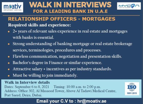 Walk In Interview For Relationship Officers in  A Leading Bank In UAE On 6th Sept To 8th Sept 2021