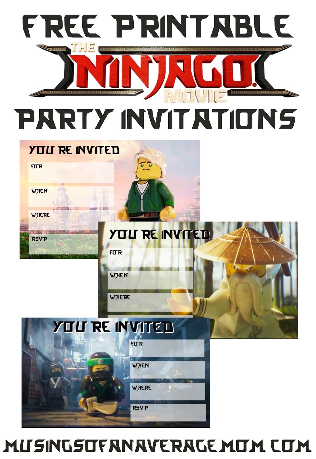Musings of an Average Mom Ninjago Movie 2017 Invitations