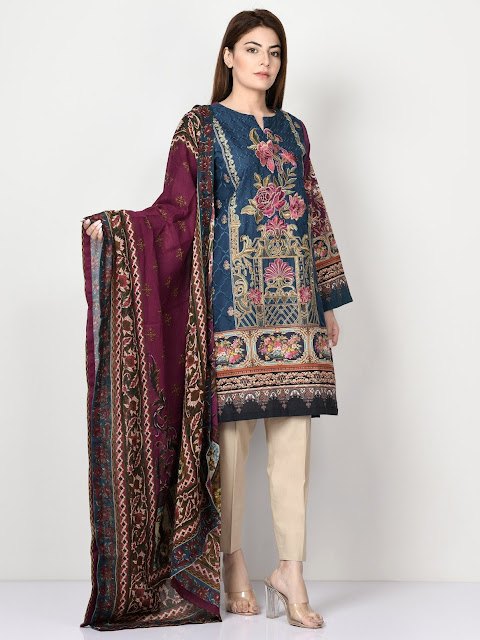 Limelight  Blue & Maroon color printed embroidered winter cotton suit winter pret collection