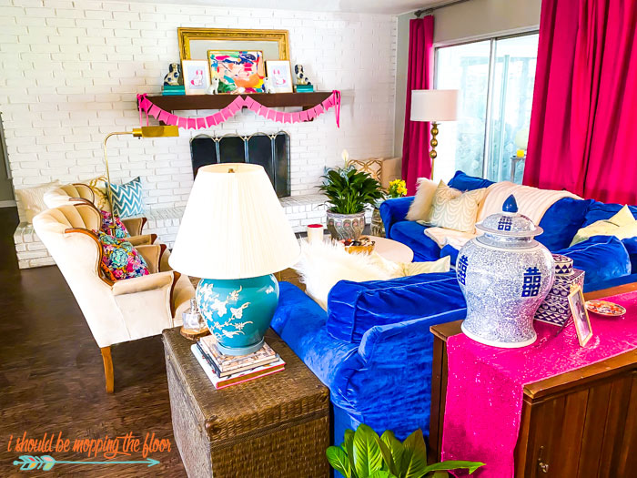Hot Pink and Blue Living Room