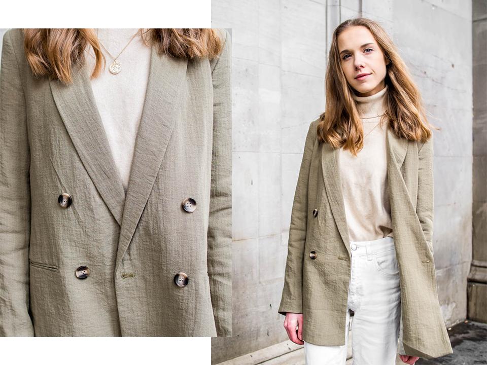 Olive / sage green blazer H&M, spring fashion 2020 - Oliivin- / salvianvihreä bleiseri, H&M, kevätmuoti 2020