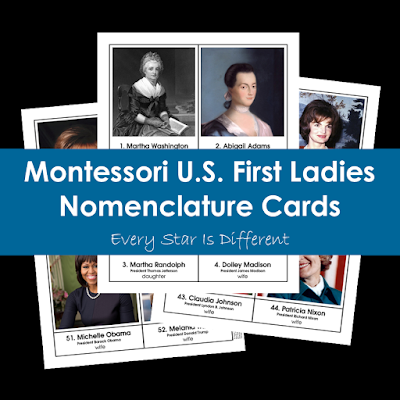 Montessori U.S. First Ladies Nomenclature Cards