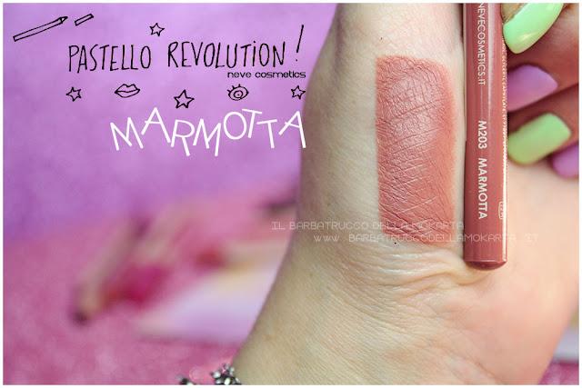 marmotta swatches BioPastello labbra Neve Cosmetics  pastello revolution