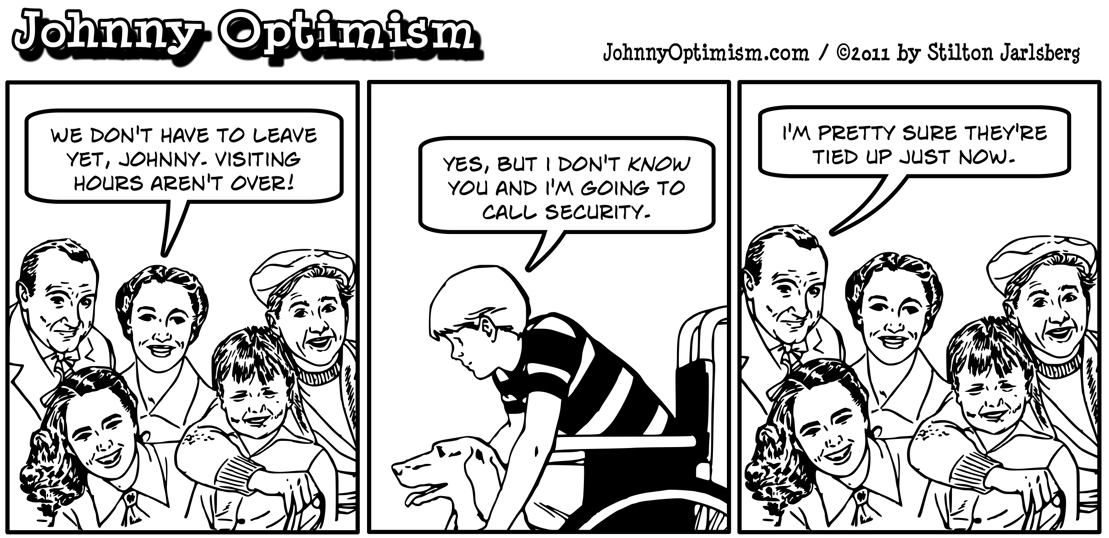Johnnyoptimism, johnny optimism, medical humor, wheelchair, stilton jarlsberg, wellwishers