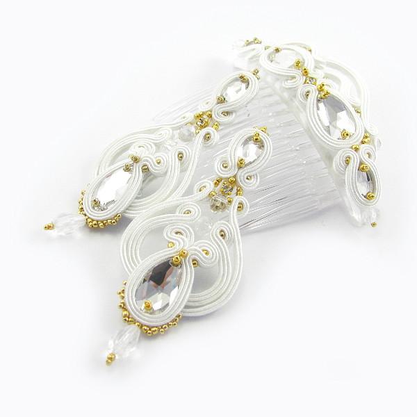 Śnieżna biel i złoto w biżuterii ślubnej sutasz.