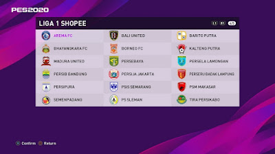 PES 2020 PS4 Option File Liga 1 Shopee Indonesia