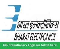 BEL Probationary Engineer Admit Card