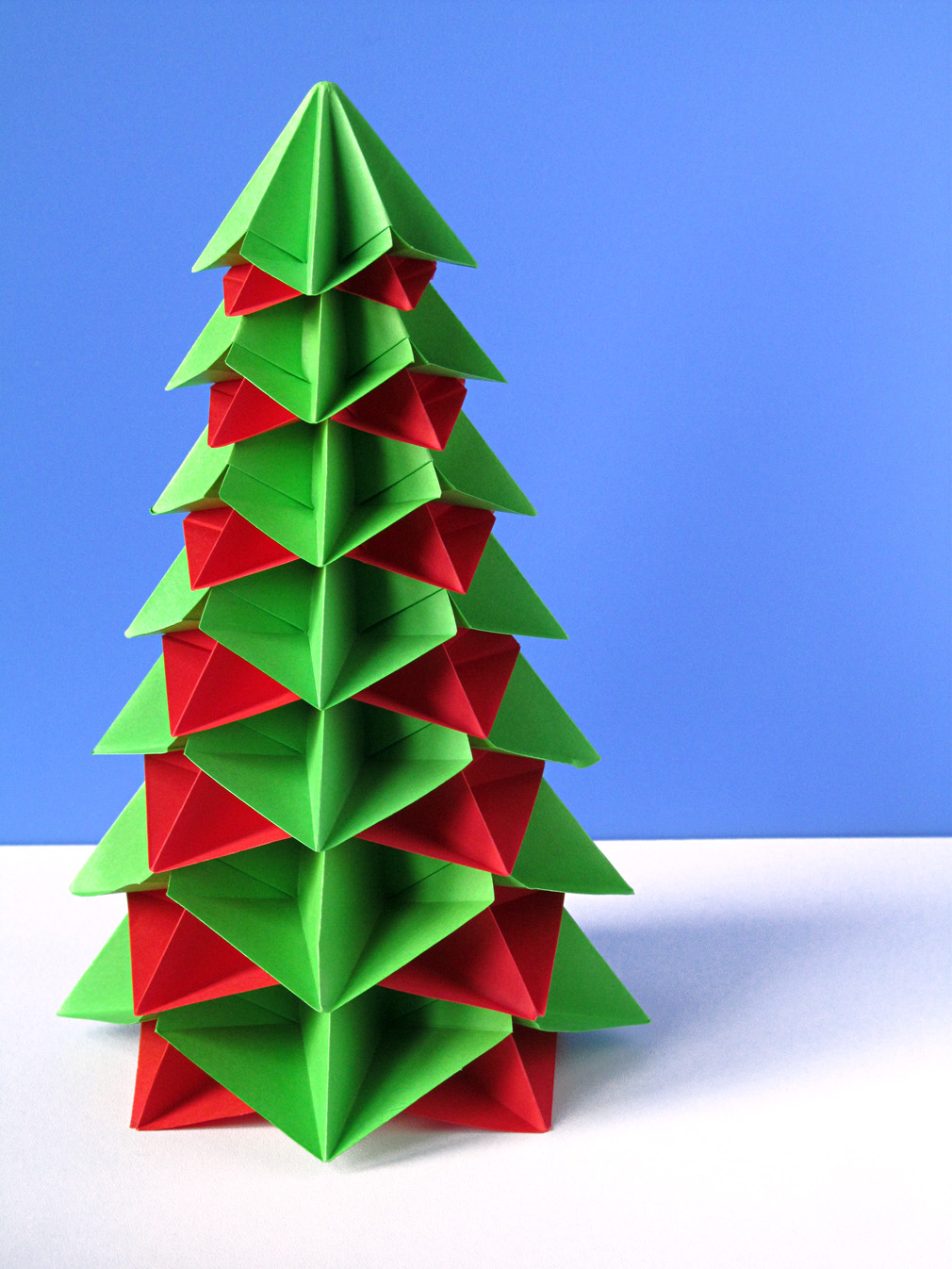 Origami 14 moduli Bialbero di Natale - Double Christmas tree by Francesco Guarnieri