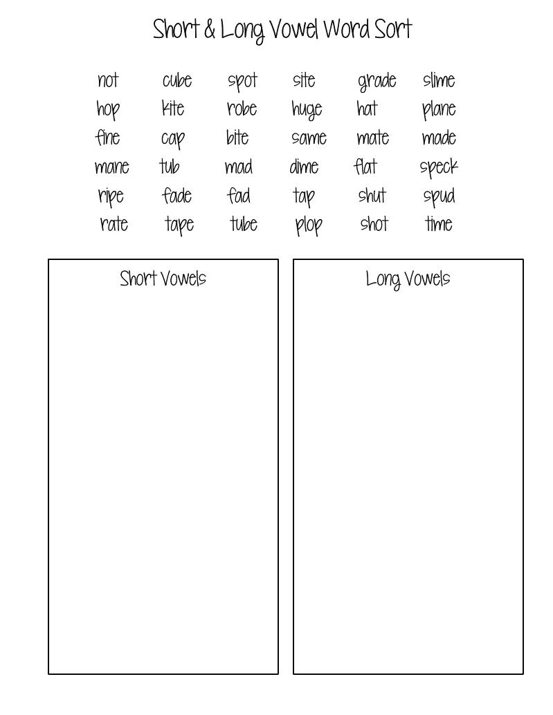 Printables Long And Short Vowel Worksheets long and short vowel sounds worksheets versaldobip davezan