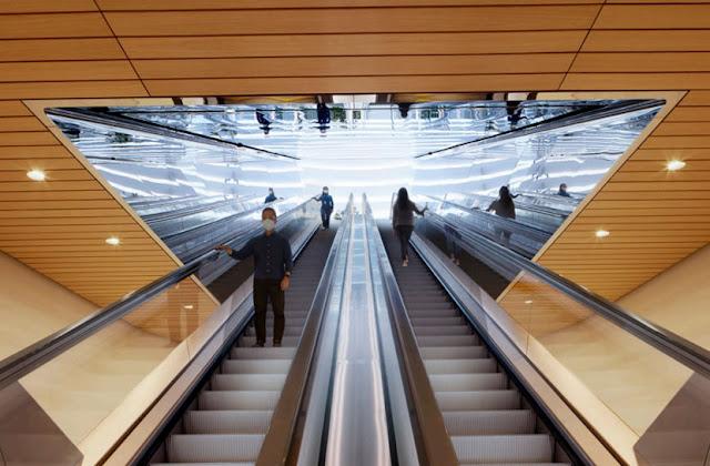 escaleras mecánicas dobles hacia el sótano de la tienda apple singapur