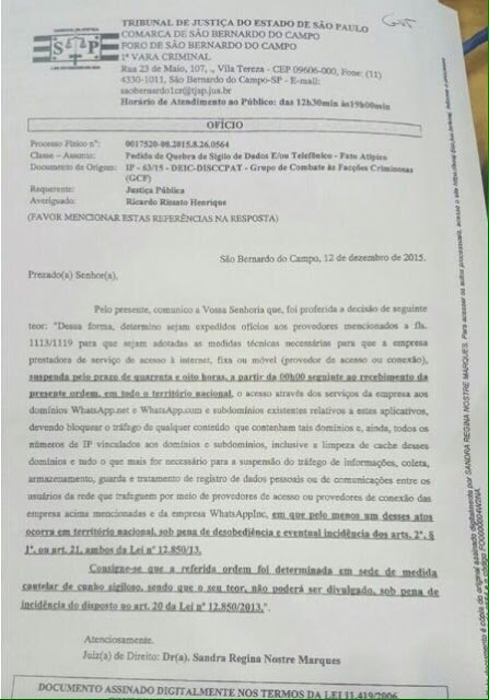 Documento bloqueio WhatsApp