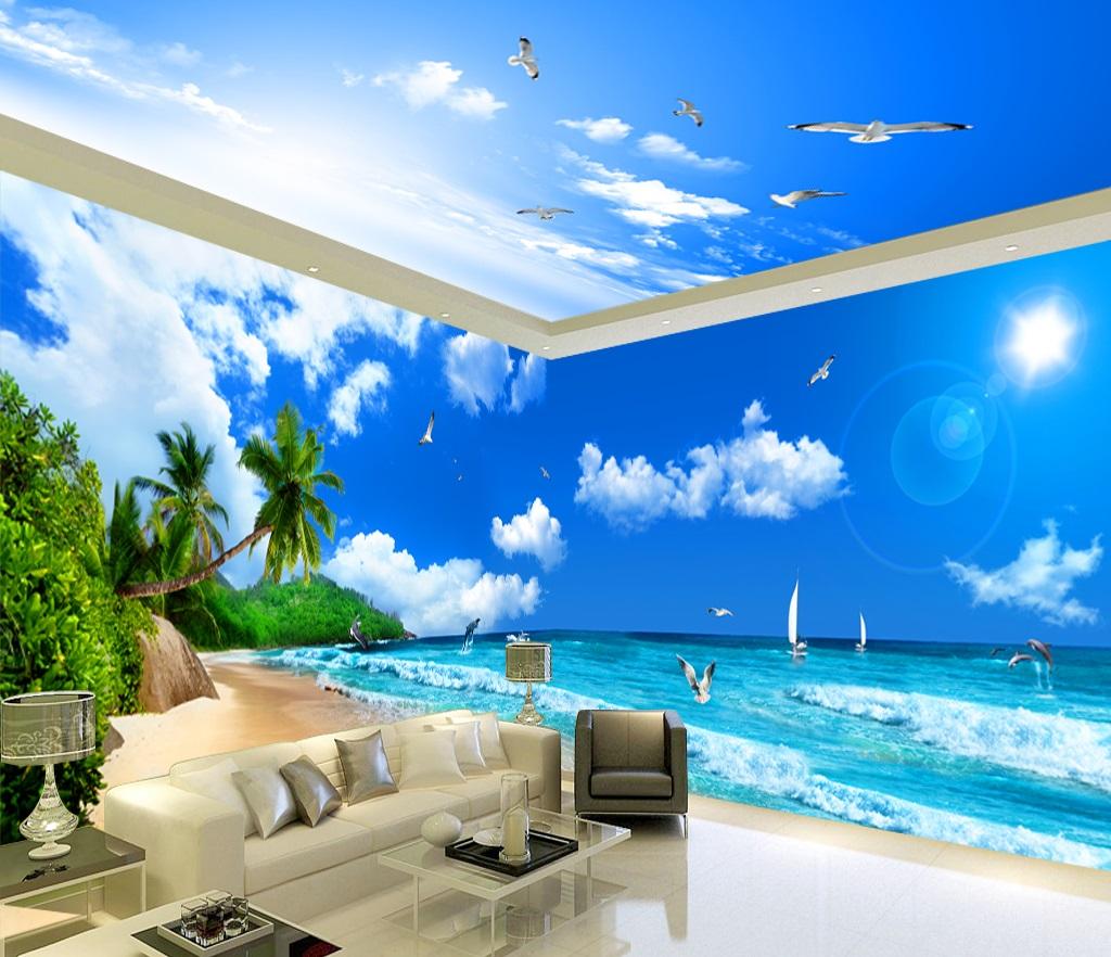 Tranh dán tường 3d phong cảnh biên bầu trời xanh mây trắng