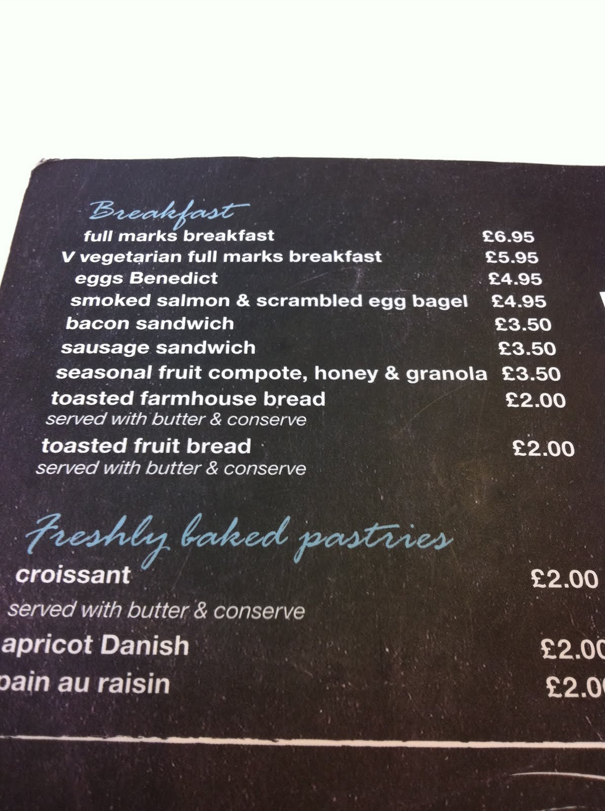 The Breakfast Table Cafe Menu