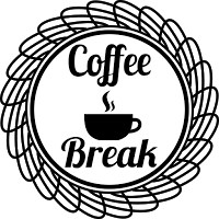 Geographic Circle Steamy Cup Coffee Badge Black and White