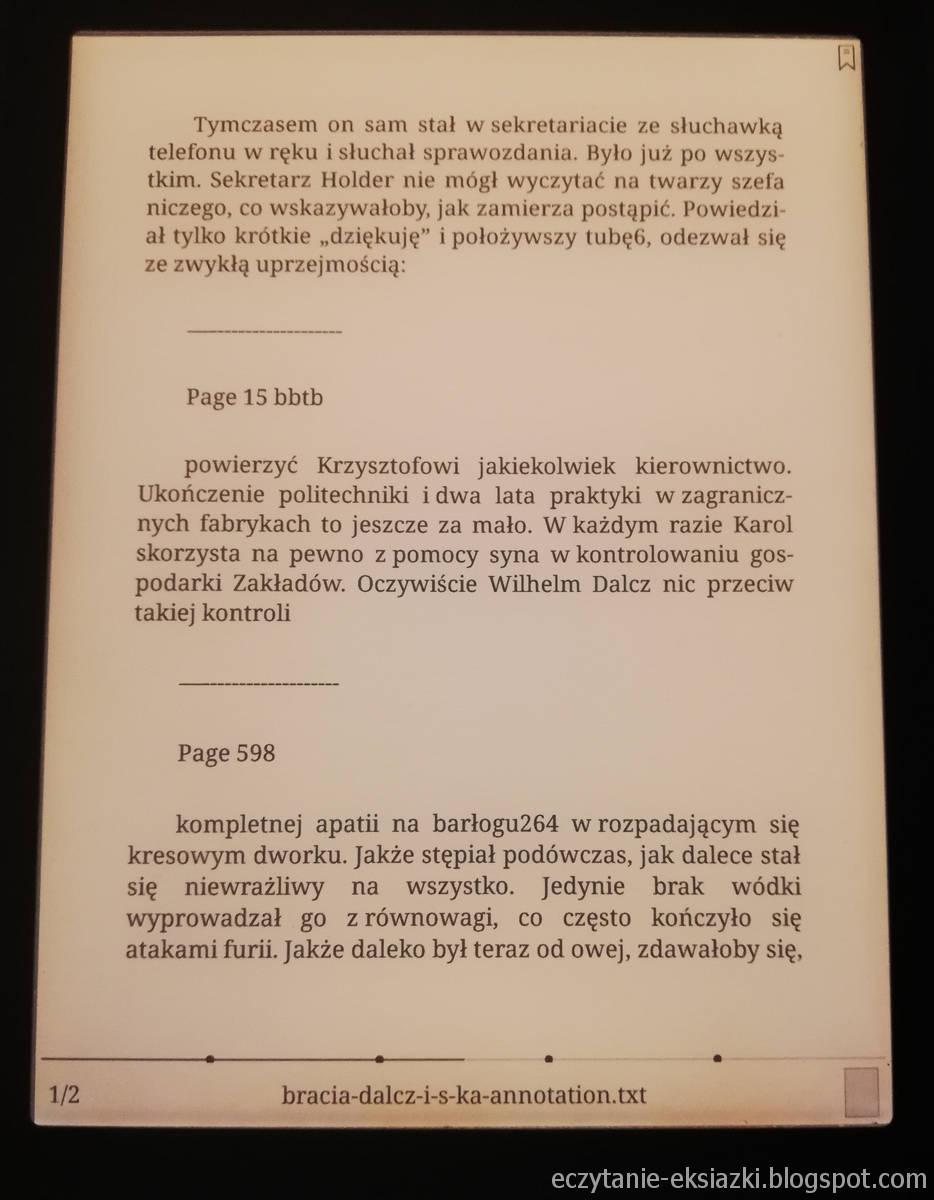 Onyx Boox Nova – plik txt z zaznaczeniami tekstu i notatkami