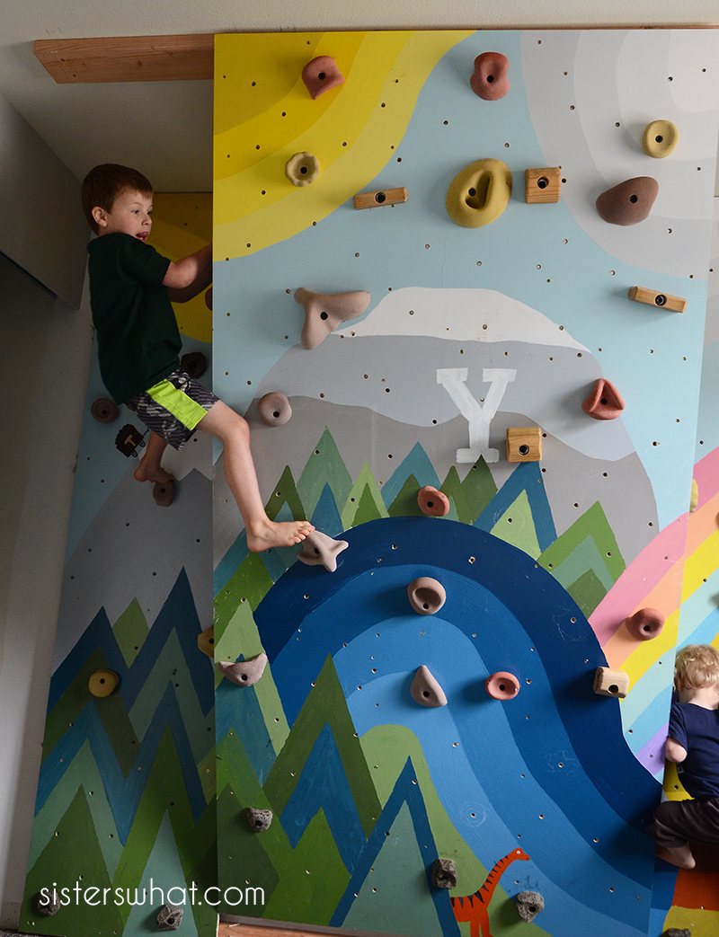 DIY rock climbing wall inside