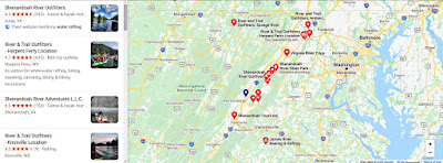 Map of White Water Rafting on the Shenandoah River