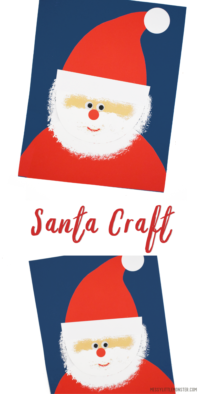 Easy Santa craft for kids with free printable Santa template