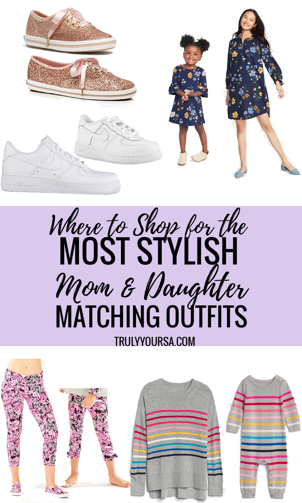 Have you ever stood in front of your closet and not been able to figure out what to wear? *Raises own hand enthusiastically* It's almost impossible for me to pick out an outfit for myself, but it's so easy to dress McKenna so I take cues from her closet and we end up matching most of the time! There are so many brands that offer Mom and Daughter (and even Son!) matching pieces and I've gathered a few of my favorite items from all of them to help you create mini matching moments of your own! #momstyle #momdaughtermatching #momdaughterfashion