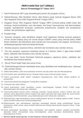 Persyaratan Membuat Surat Keterangan Terdaftar (SKT) di KESBANGPOL