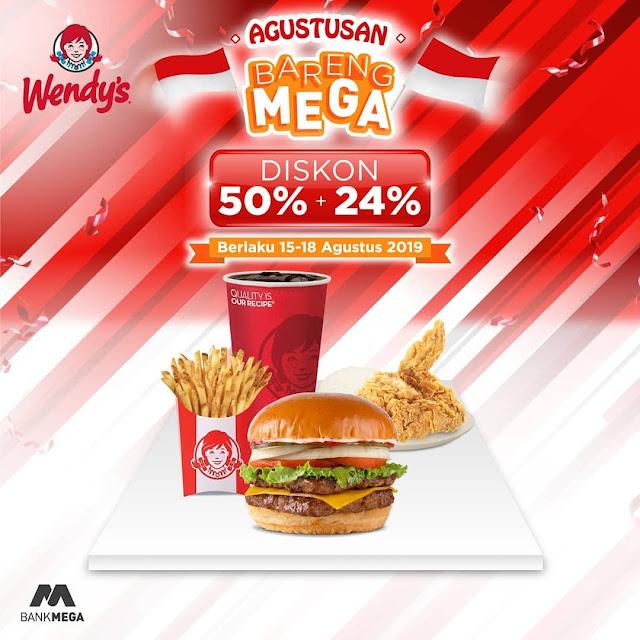 #Wendys - #Promo Agustusan Bareng MEGA Diskon 50% + 24% (15 - 18 Agustus 2019)