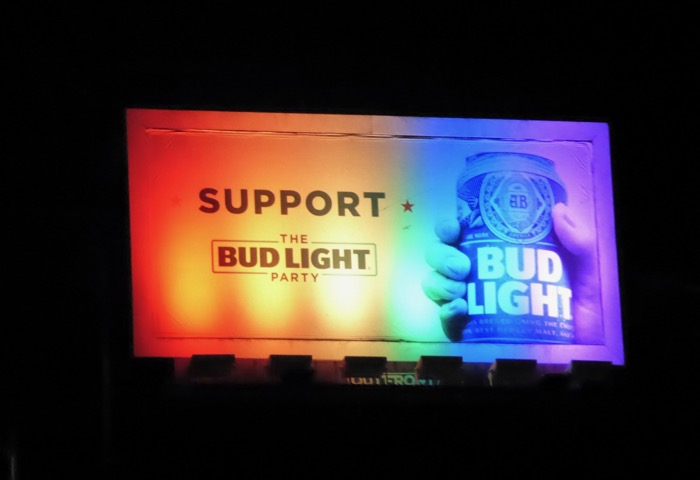 Bud Light billboard Rainbow Pride lights 2016