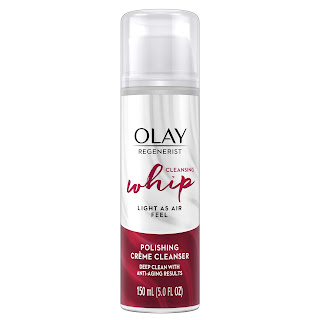 A bottle of Olay Regenerist Cleansing Whip Polishing Creme Cleanser