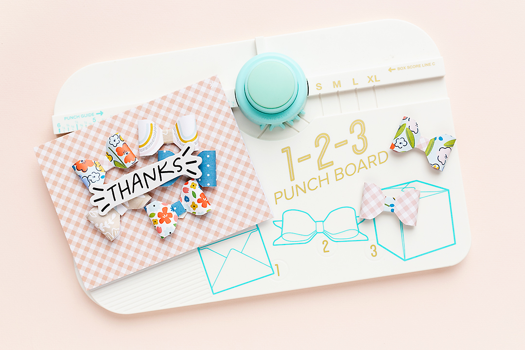 American Crafts Thank you card with bows made with the 123 Punch Board by We R Memory Keepers