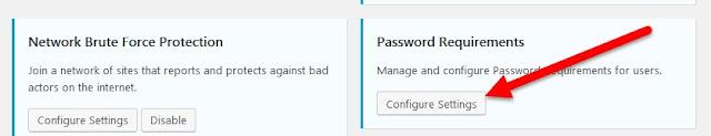 botón Configurar ajustes en la caja de Requisitos de contraseña