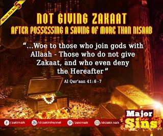 MAJOR SIN. 5. NOT GIVING ZAKAAT: After Possessing a Saving of more than Nisaab | Kabira Gunah